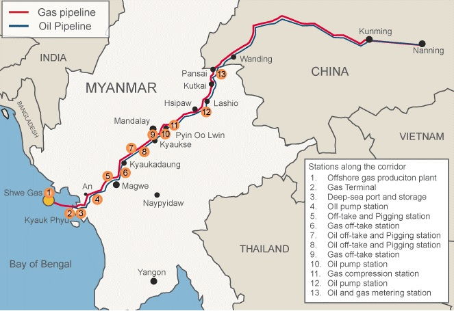 oil and gas pipes china myanmar